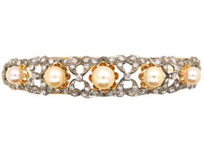 15ct Gold, Diamond & Pearl Bangle