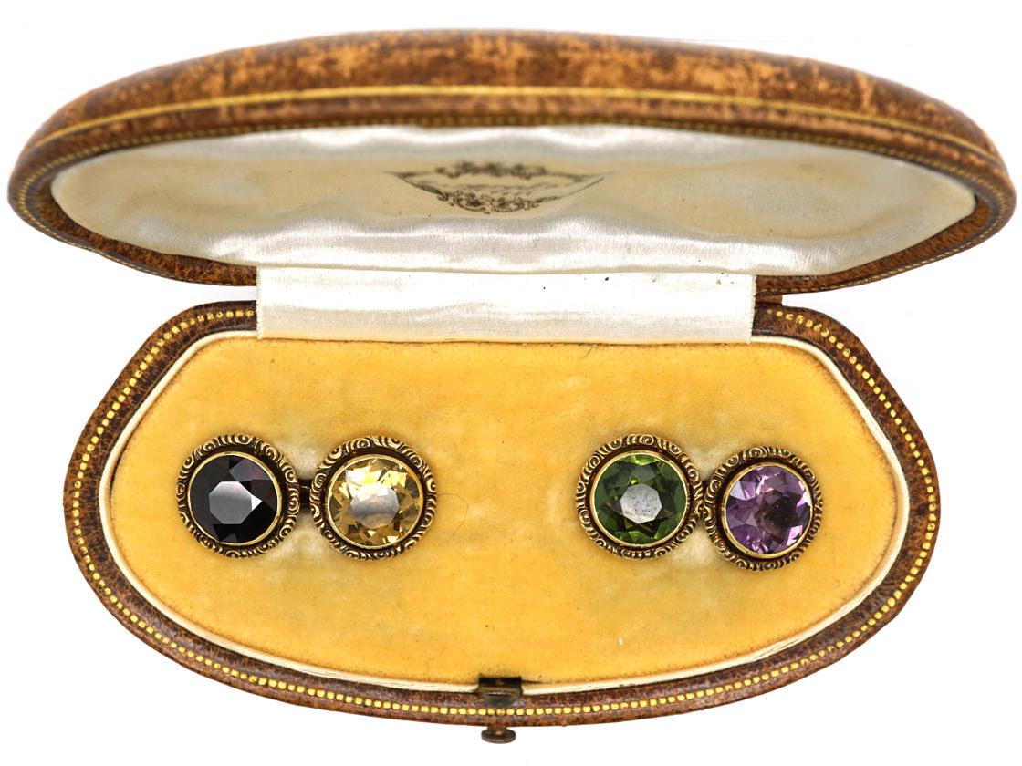 Edwardian 14ct Gold Multi Stone Cufflinks in Original Case