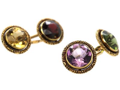 Edwardian 14ct Gold Multi Stone Cufflinks in Original Case