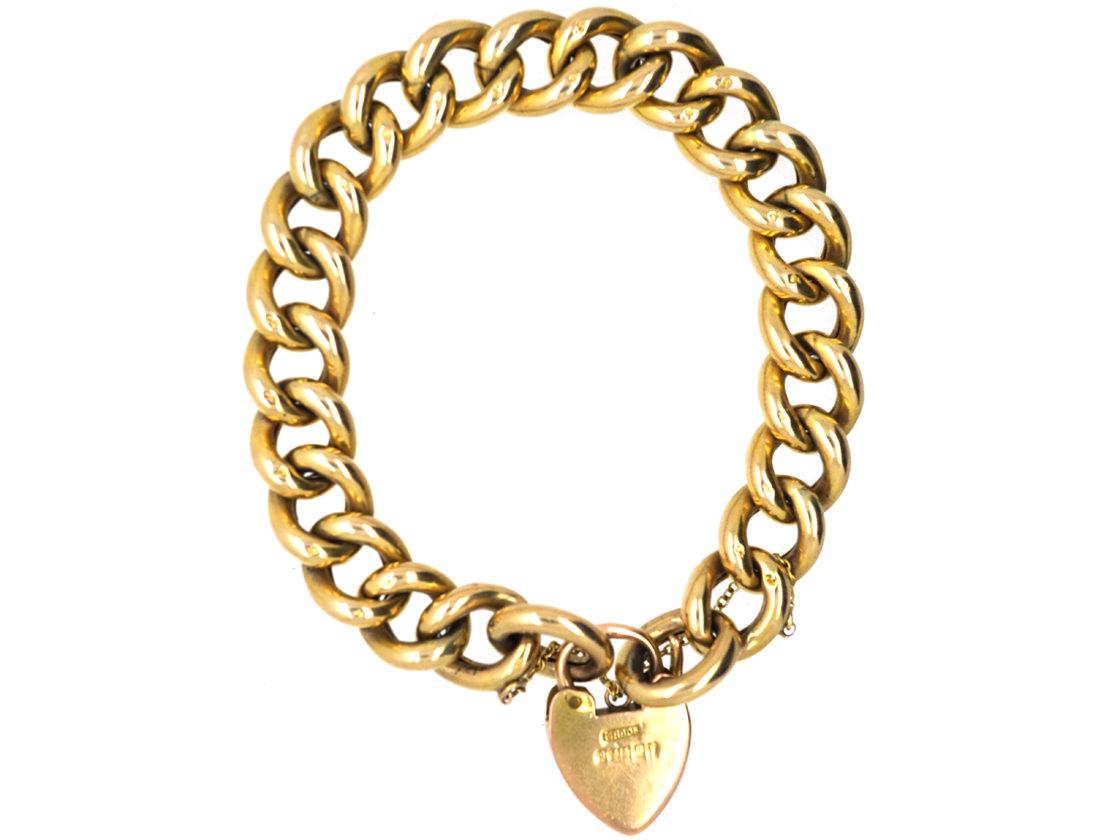 Edwardian 9ct Gold Engraved Curb Link Bracelet