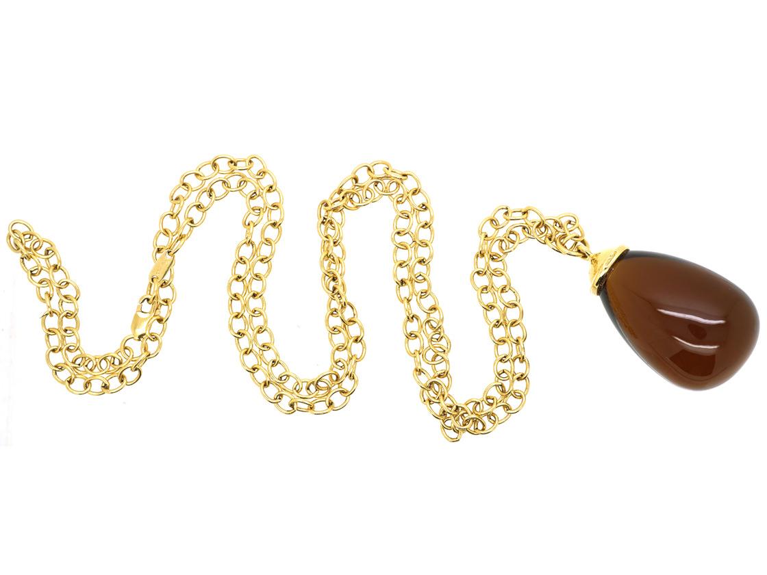 Tiffany 18ct Gold & Smoky Quartz Pendant on 18ct Gold Tiffany Chain Designed by Paloma Picasso