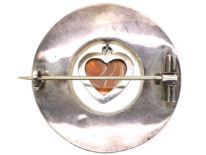 Victorian Scottish Silver Round Agate Brooch with Heart Drop