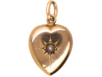 Edwardian 15ct Gold Heart set with a Natural Split Pearl