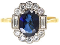 18ct Gold Sapphire & Diamond Oval Cluster Ring with Baguette Diamonds on Either Side
