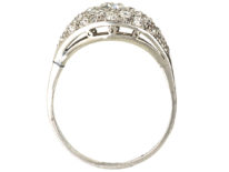 Art Deco Platinum & Diamond Bombé Set Cluster Ring