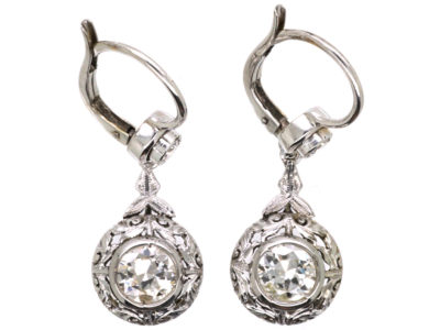 Art Deco 18ct White Gold & Diamond Drop Earrings