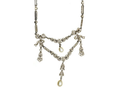 Edwardian Platinum & Diamond Garland Necklace
