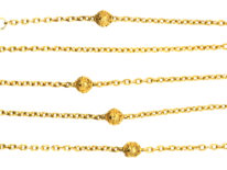 Victorian 15ct Gold Chain Interspersed with Round Beads