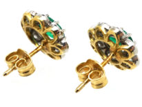 18ct White & Yellow Gold, Emerald & Diamond Oval Cluster Earrings