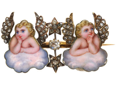 "Victorian Enamel & Diamond ""Cherubs in the Sky"" Brooch"