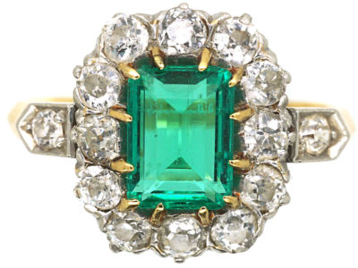 Edwardian 18ct Gold Emerald & Diamond Rectangular Cluster Ring with Diamond Set Shoulders