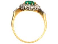 Edwardian 18ct Gold Emerald & Diamond Rectangular Cluster Ring with Diamond Set Shoulders