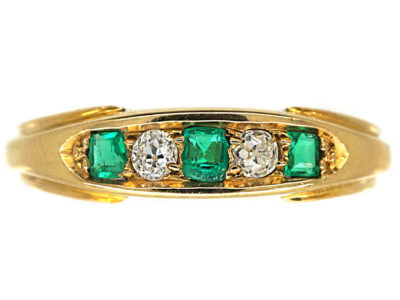 Edwardian 18ct Gold, Emerald & Diamond Five Stone Ring