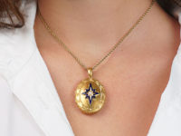 Victorian 18ct Oval Locket with Star & Natural Split Pearl Design