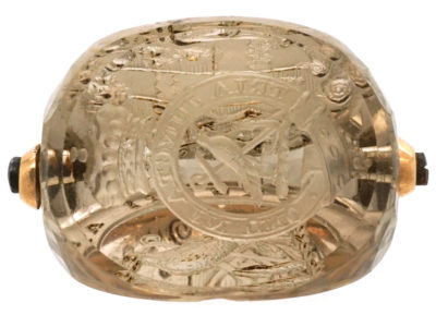 Georgian 18ct Gold Triple Sided Rock Crystal Seal with Carved Crest Intaglios