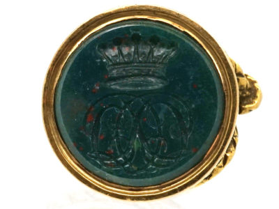 Georgian 18ct Gold Bloodstone Seal with Crown & Monogram Intaglio