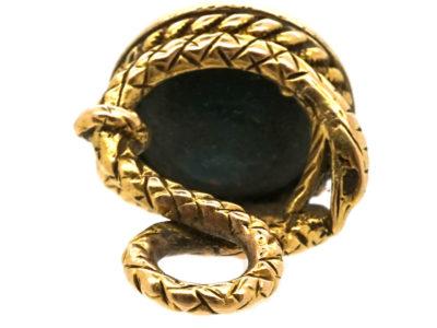 Georgian 18ct Gold Bloodstone Seal with Crown & Monogram Intaglio