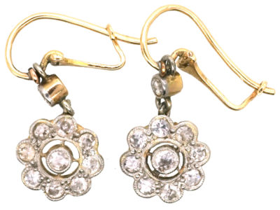 Edwardian 18ct Gold & Platinum Diamond Cluster Drop Earrings