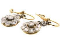 Edwardian 18ct Gold & Platinum Diamond Cluster Drop Earrings