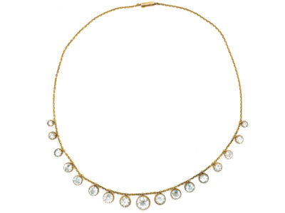 Victorian 15ct Gold & Aquamarine Drops Necklace