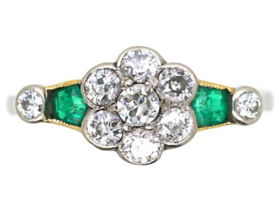 Art Deco Platinum, Diamond Cluster Ring With Diamond & Emerald Shoulders