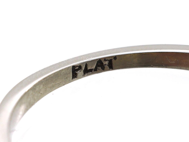 Art Deco Platinum, Diamond Cluster Ring With Diamond & Emerald Shoulders
