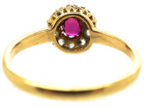 Edwardian 18ct Gold, Ruby & Diamond Cluster Ring