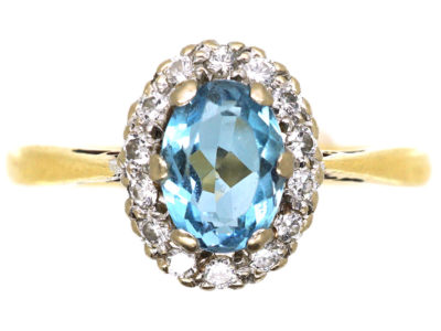 18ct Gold Aquamarine & Diamond Oval Cluster Ring