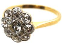 Edwardian 18ct Gold & Platinum Large Diamond Daisy Cluster Ring