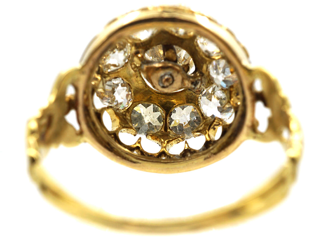 Victorian 18ct Gold & Diamond Large Cluster Ring