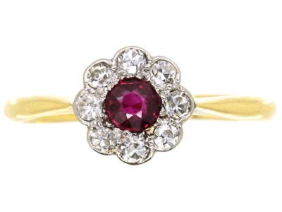 Edwardian 18ct Gold & Platinum, Ruby & Diamond Cluster Ring