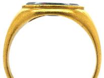 Georgian 18ct Gold Bloodstone Signet Ring with Bird & Envelope Intaglio