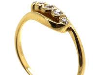 Edwardian 18ct Gold & Platinum Five Stone Diamond Crossover Ring