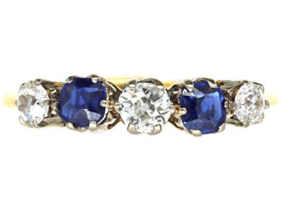 Edwardian 18ct Gold & Platinum, Five Stone Sapphire & Diamond Ring