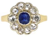 Edwardian 14ct Gold, Sapphire & Rose Diamond Cluster Ring
