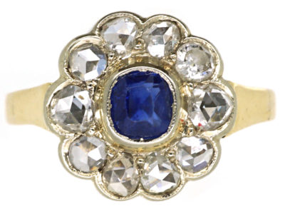 Edwardian 14ct Gold, Sapphire & Rose Diamond Cluster Ring