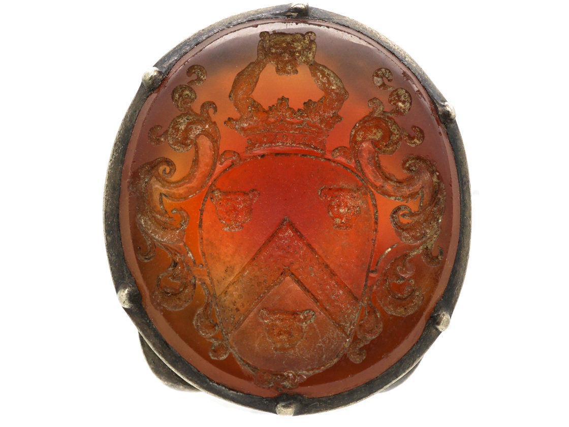 Georgian Silver Seal with Carnelian Base with a Crested Intaglio