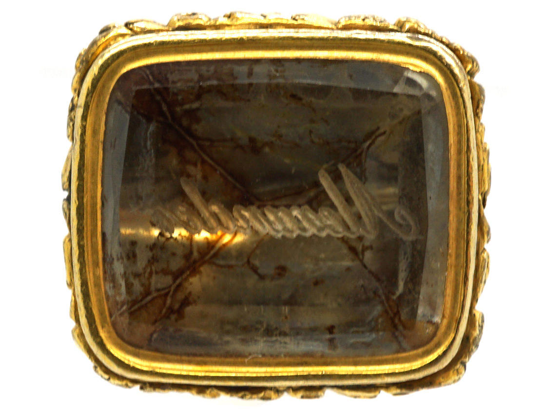 Georgian 15ct Gold & Citrine Seal with Intaglio of the name Merander