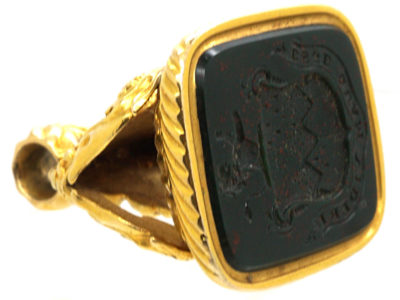 Georgian 18ct Gold Seal with Bloodstone Crest Intaglio with Lion Rampant