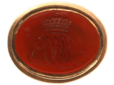 Georgian 9ct Gold Cased Seal with Carnelian Intaglio of a Crown & Monogram