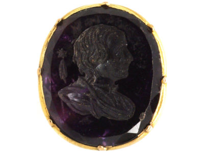 Georgian 15ct Gold Seal with Amethyst Intaglio of Edmond Halley & His Comet