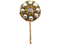 Victorian 15ct Gold, Natural Split Pearl & Diamond Tie Pin