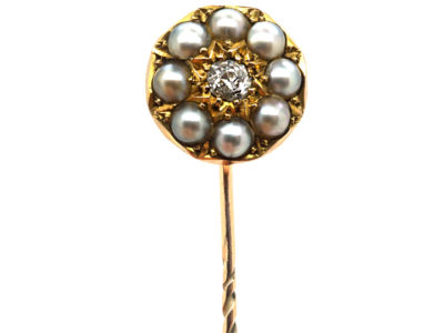 Victorian 15ct Gold, Natural Split Pearl & Diamond Tie Pin