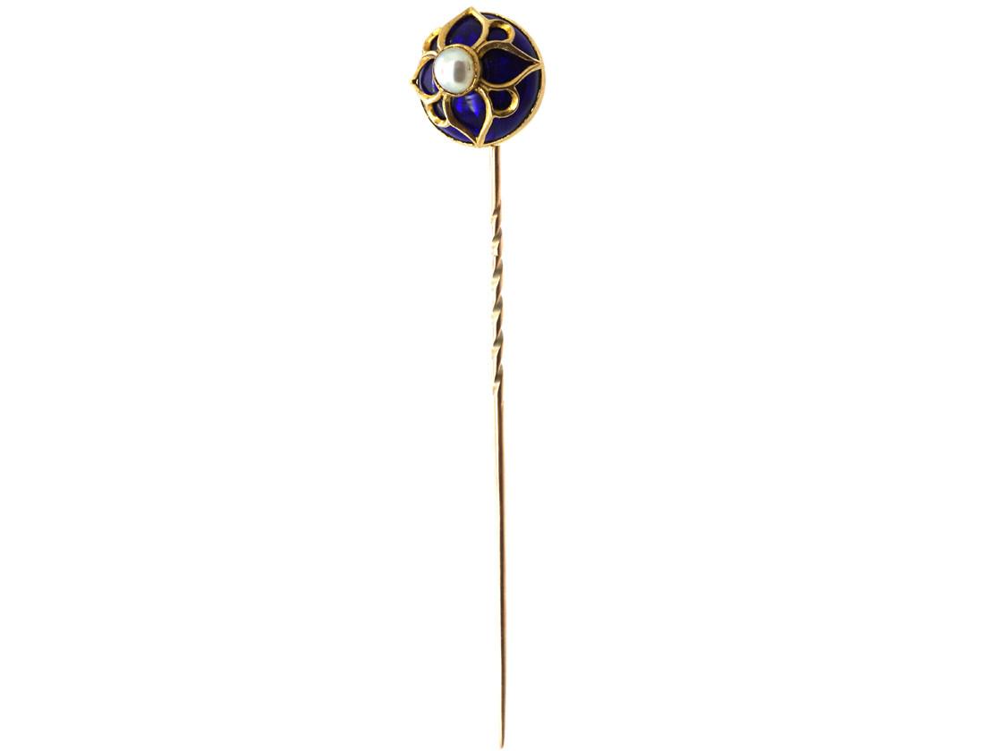 Victorian 18ct Gold, Royal Blue Enamel & Natural Split Pearl Tie Pin