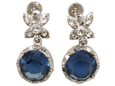 Silver, Blue & White Paste Drop Earrings