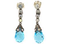 Edwardian Silver, Blue & White Paste Drop Earrings