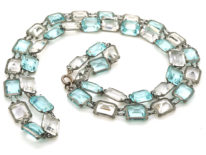 Art Deco Long Silver Chain set with Blue & White Paste