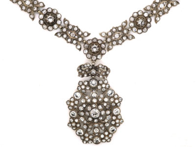 Victorian Silver & Paste Necklace with Pendant Drop