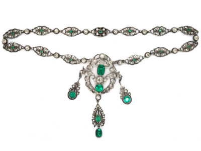 Edwardian Silver & Green & White Paste Necklace