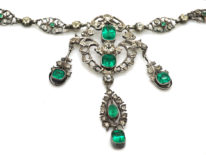 Edwardian Silver & Green & White Paste Necklace